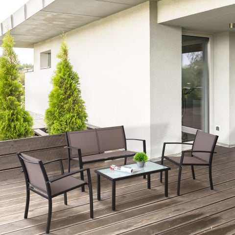 Furinno Melaka Outdoor Patio Leisure Dining Set, Taupe FG173002TP/BK