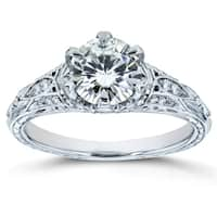 Annello by Kobelli 14k White Gold 1 1/6ct TGW Moissanite (FG) and Diamond 6-Prong Antique Engagement Ring