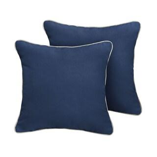 Humble + Haute Sunbrella Canvas Navy Indoor/Outdoor Corded Pillow Set of 2