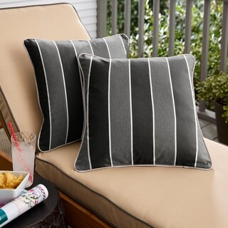 Humble + Haute Sunbrella Peyton Granite and Cast Silver Indoor/Outdoor Corded Pillow Set of 2