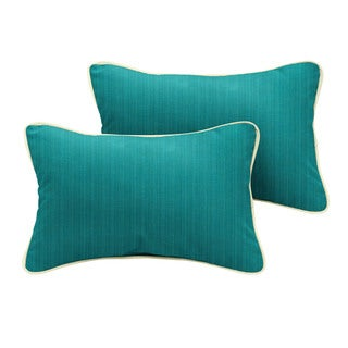 Humble + Haute Sunbrella Dupione Deep Sea Indoor/Outdoor Corded Pillow Set of 2