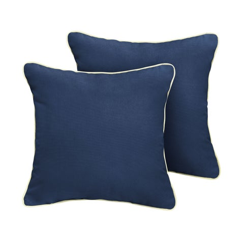 Humble + Haute Sunbrella Canvas Navy w/ Canvas Natural Indoor/Outdoor Corded Pillow Set of 2