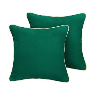 Humble + Haute Sunbrella Canvas Forest Green Indoor/Outdoor Corded Pillow Set of 2