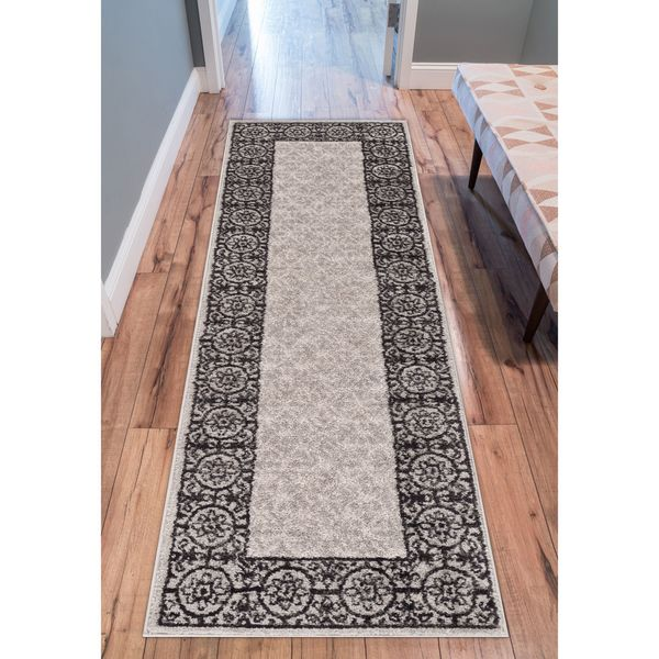 Well Woven Melbourne Modern Solid Blue Brown Runner Rug 2 X27