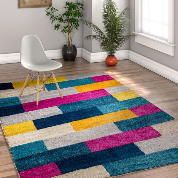 Well Woven Melbourne Modern Abstract Blocks Multi Color Area Rug - 7'10 x 9'10
