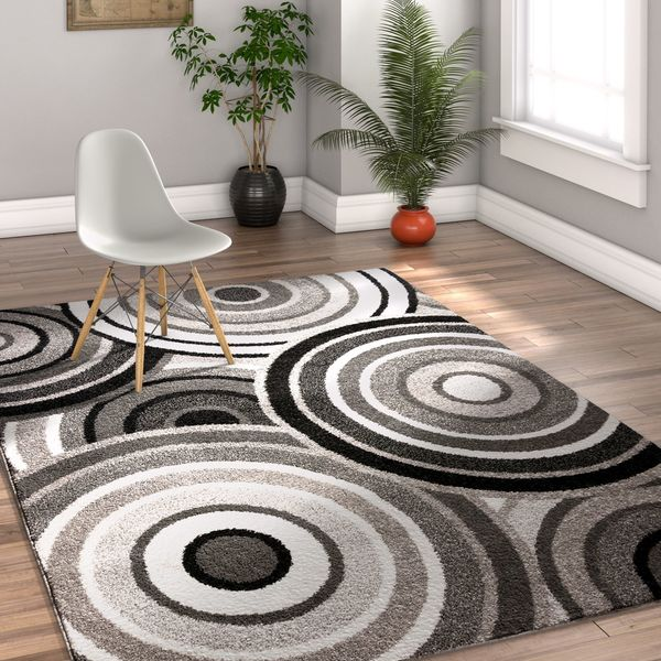 Well Woven Melbourne Modern Circles Blue Grey Area Rug - 7'10 x 9'10
