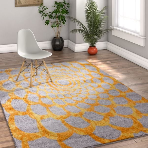 Well Woven Melbourne Modern Flower Yellow Gold Area Rug - 7'10 x 9'10