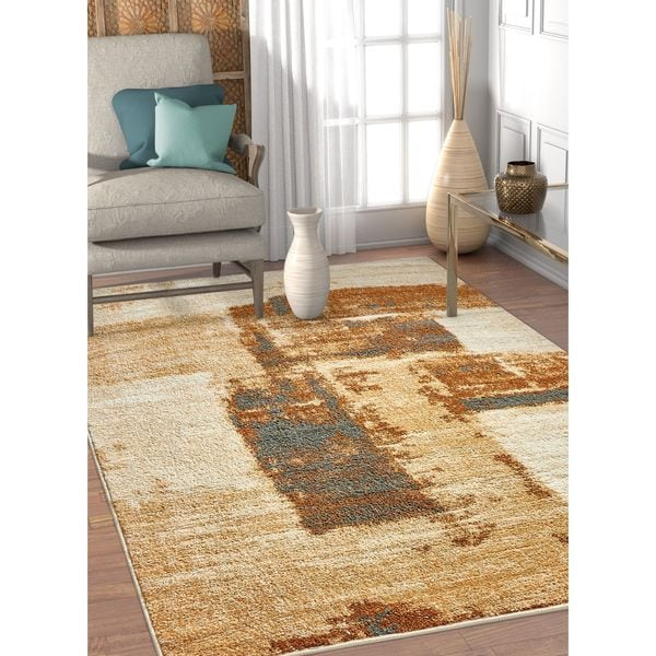 Well Woven Melbourne Modern Brush Strokes Brown Beige Area Rug - 7'10 x 9'10