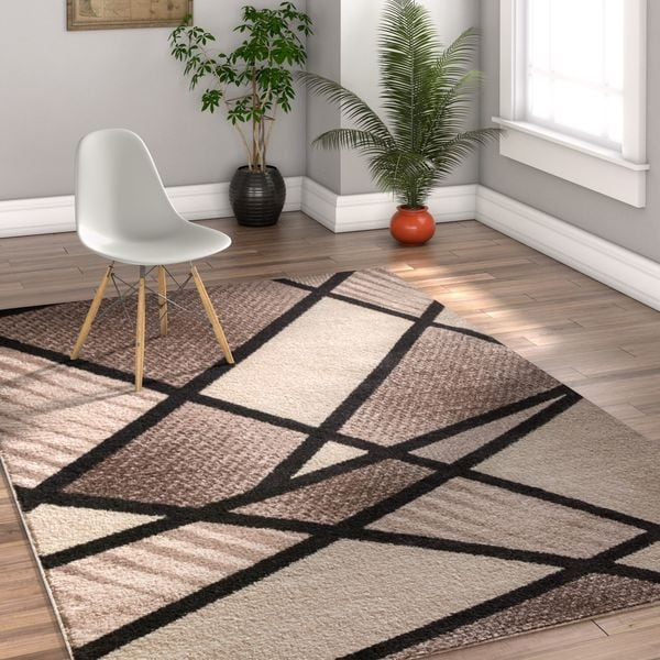 Well Woven Melbourne Modern Art Deco Brown Beige Area Rug - 7'10 x 9'10