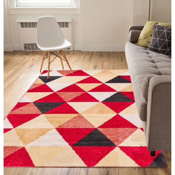 Well Woven Melbourne Modern Abstract Red Beige Area Rug - 7'10 x 9'10