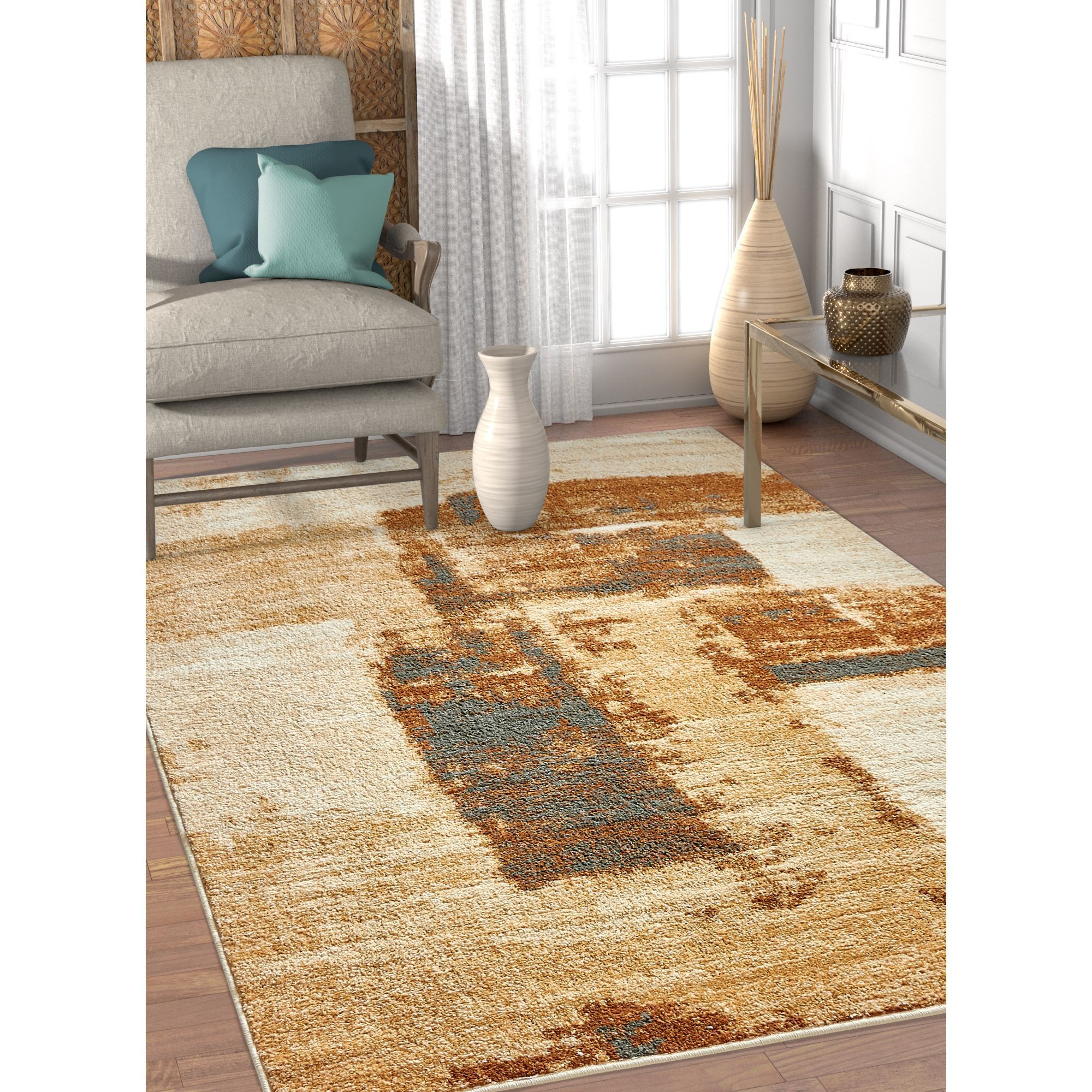 Well Woven Melbourne Modern Brush Strokes Brown Beige Area Rug 3 X 5