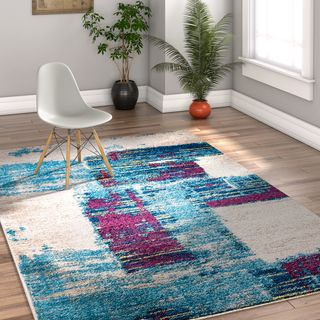 "Well Woven Melbourne Modern Abstract Blue Purple Area Rug - 3'3"" x 5'"