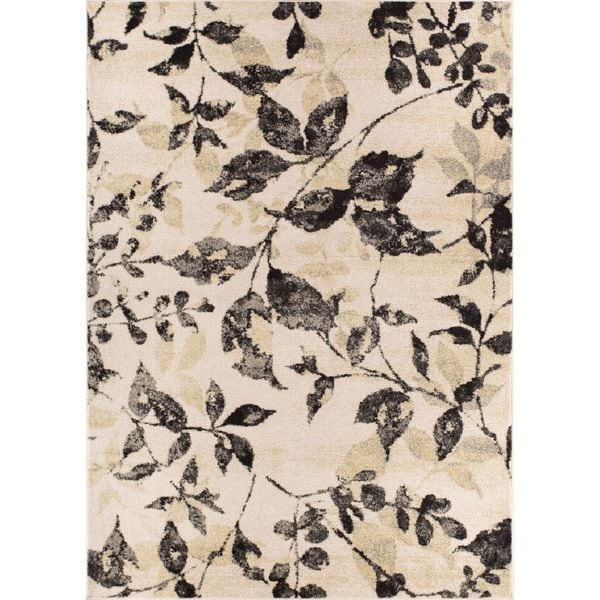 "Well Woven Modern Floral Leaves Beige Grey Area Rug - 9'3"" x 12'6"""