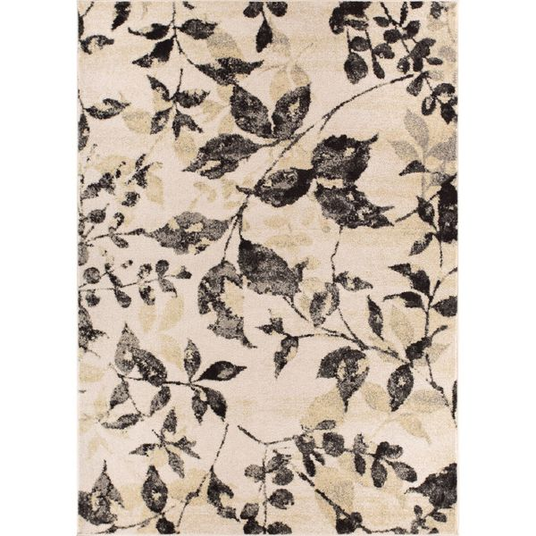 """Well Woven Modern Floral Leaves Beige Grey Rug - 7'10"""" x 10'6"""""""