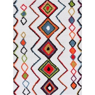 Well Woven Grace Moroccan Aztec Shag Cream Mat Accent Rug - 2' x 3'