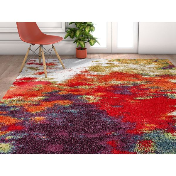 Well Woven Grace Mid Century Abstract Shag Multi Area Rug - 7'10 x 9'10