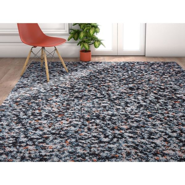Well Woven Grace Mid Century Shag Blue Area Rug - 7'10 x 9'10