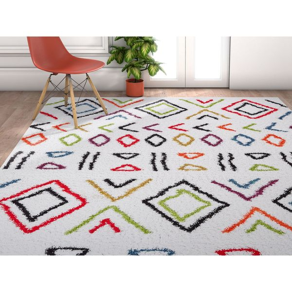 Well Woven Grace Moroccan Ethnic Shag Cream Area Rug - 7'10 x 9'10