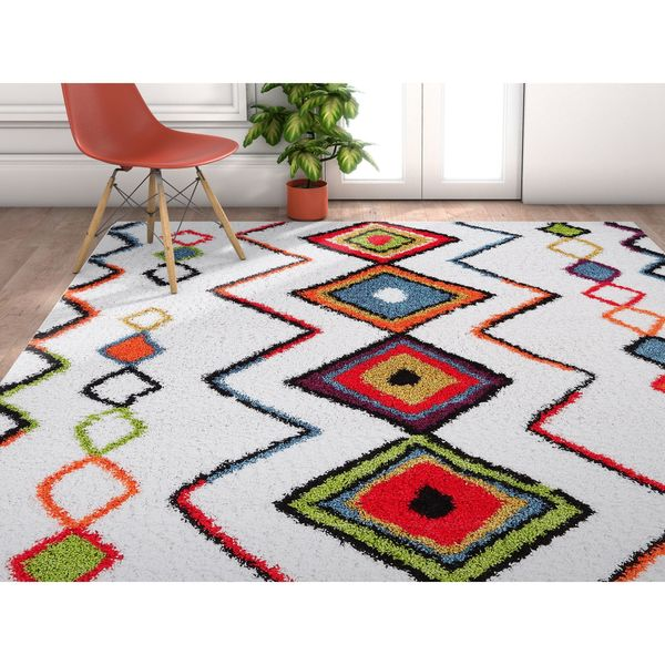 Well Woven Grace Moroccan Aztec Shag Cream Area Rug - 7'10 x 9'10