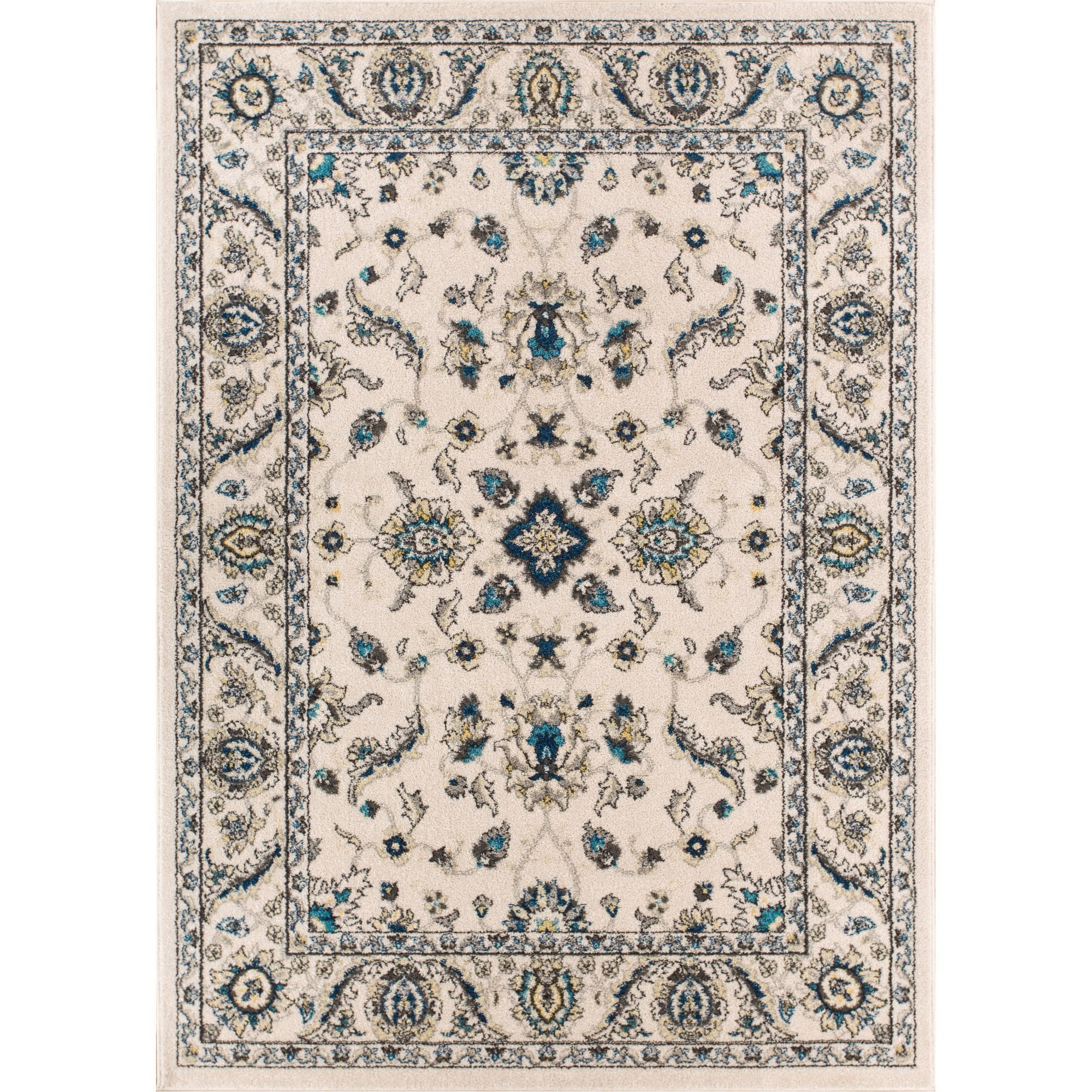 Well Woven Oriental Floral Ivory Blue Area Rug - 710 x 106 (Ivory)