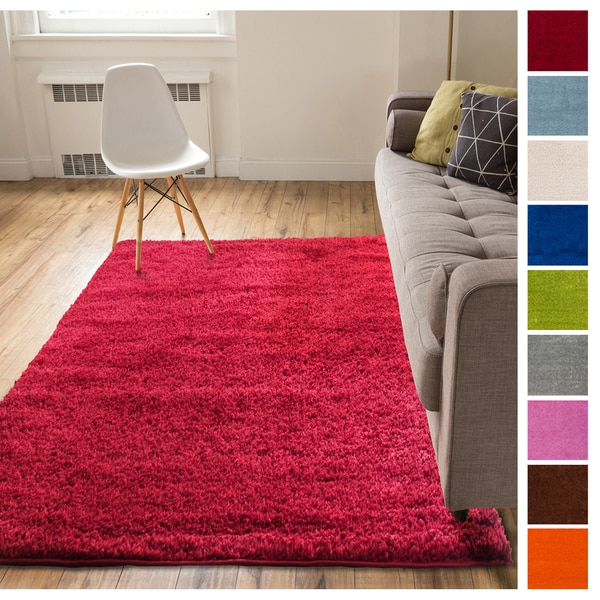 "Well Woven Soft Solid Modern Shag Area Rug - 6'7"" x 9'10"""
