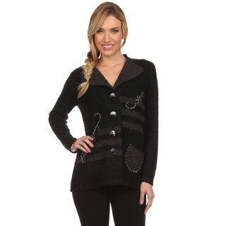 High Secret Women's Black Snaggy Button Down Cardigan