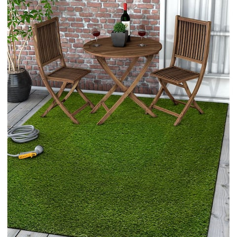"Well Woven Artificial Grass Indoor Outdoor Turf Green Area Rug - 6'7"" x 9'6"""