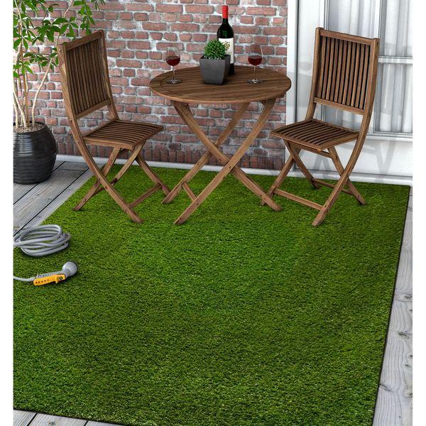 Well Woven Artificial Grass Indoor/Outdoor Turf Green Rug