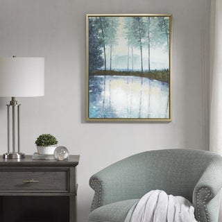 Madison Park Serene Setting Green Hand Embellished Canvas with Silver Frame