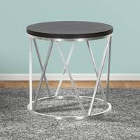 Armen Living Emerald Round End Table in Stainless Steel and Grey Wood