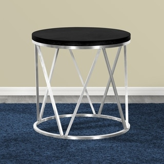 Armen Living Emerald End Table in Stainless Steel and Black Ash Wood