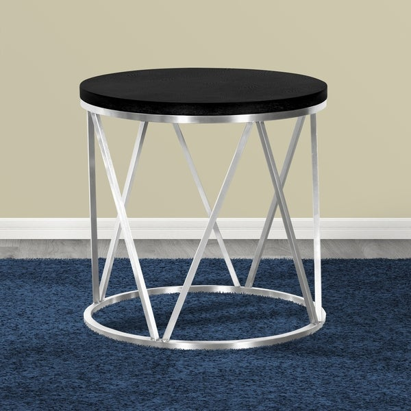 Shop Armen Living Emerald End Table In Stainless Steel And