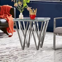 Armen Living Cascade End Table in Stainless Steel with Glass Top
