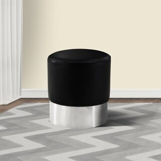 Armen Living Tabitha Black Faux Leather/ Stainless Steel Ottoman