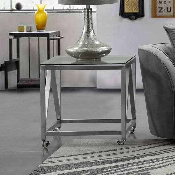 Shop Armen Living Enessa End Table In Stainless Steel