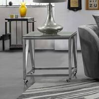 Armen Living Enessa End Table in Stainless Steel Finish and Glass Top