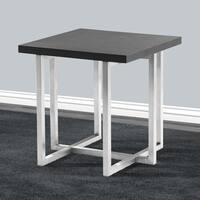 Armen Living Topaz End Table in Stainless Steel and Grey Veneer Wood