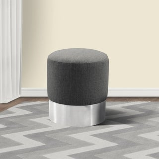 Armen Living Tabitha Ottoman in Stainless Steel and Grey Fabric
