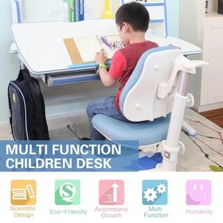 KidS Sit and Stand Ergonomic Height Adjustable Desk- The Care Desk (Option: Blue - Blue Finish)