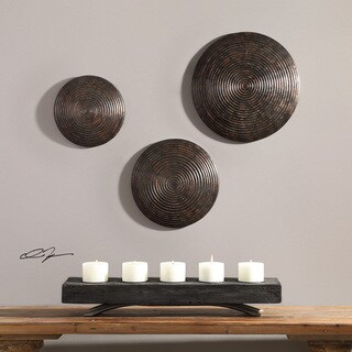 Uttermost Hanneli Ribbed Bronze Circles Wall Decor (Set of 3)