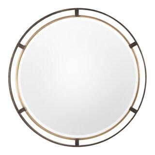 Uttermost Carrizo Bronze Round Mirror - Antique Silver - 36.25x36.25x1.25