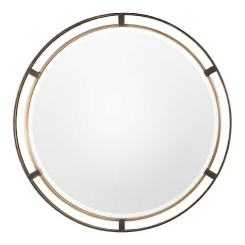 Uttermost Carrizo Bronze Round Mirror - Antique Bronze - 36.25x36.25x1.25