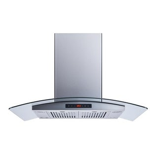 """Winflo O-WH101B36DL 36"""" Convertible Stainless Steel/Tempered Glass Island Mount Range Hood"""