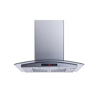 """Winflo O-WH101B30DL 30"""" Convertible Stainless Steel/Tempered Glass Island Mount Range Hood"""