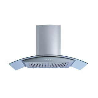 "Winflo O-W101A36D 36"" Convertible Stainless Steel/Tempered Glass Wall Mount Range Hood"