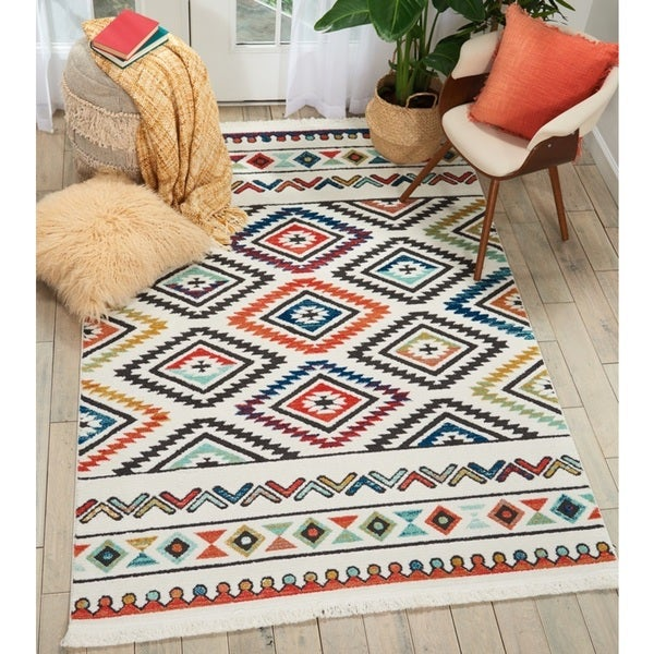 Nourison Tribal Decor White/Multicolor Area Rug - 9'3 x 13'