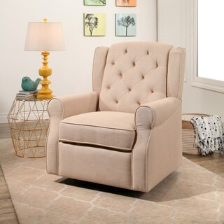Abbyson Haviland Cream Fabric Swivel Glider