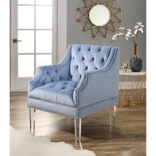 Abbyson  Tampa Tufted Velvet Chair with Acrylic Legs (Blue)