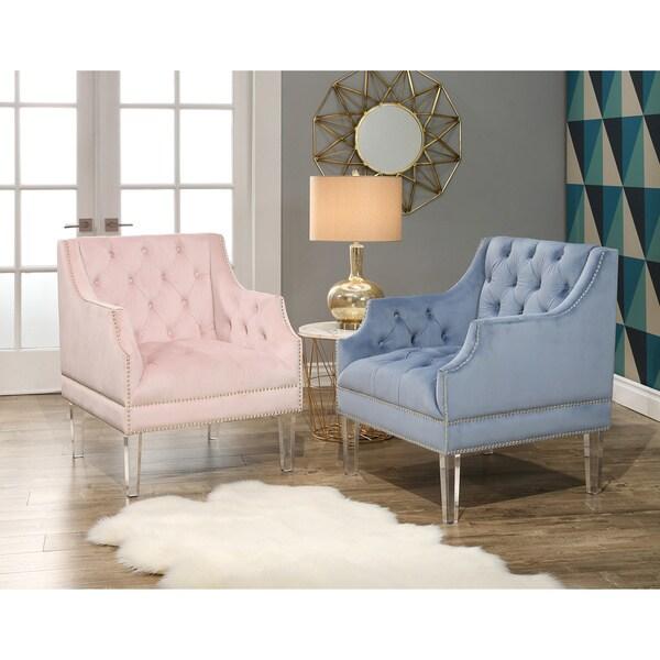 Shop Abbyson Tampa Tufted Velvet Chair With Acrylic Legs