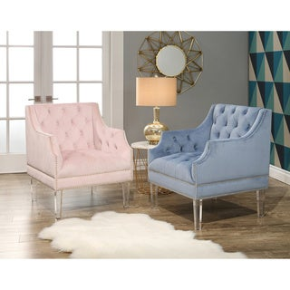 Abbyson Tampa Tufted Velvet Chair with Acrylic Legs
